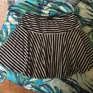 shameless Skirts - Black white striped skater skirt large